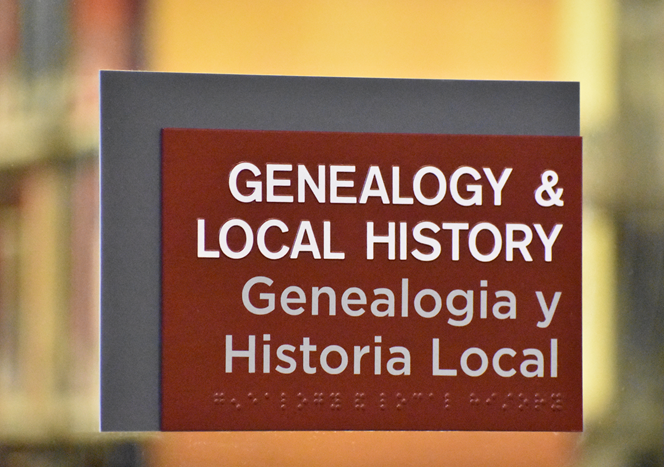 Genealogy and Local History Room signage
