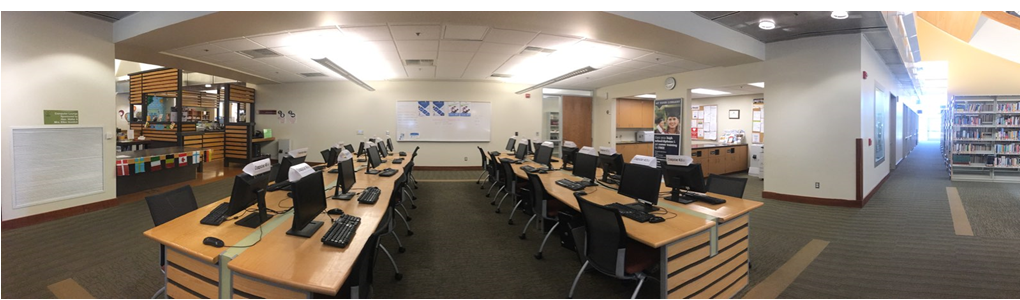 A panoramic view of the Tulare Public Library Computer Lab.