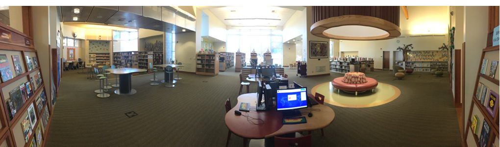 A panoramic view of the Tulare Public Library Youth Area.